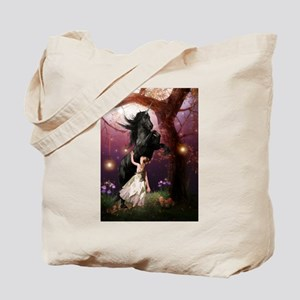 The Girl and the Dark Unicorn Tote Bag