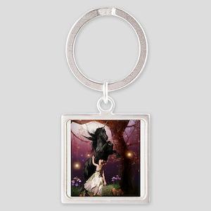 The Girl and the Dark Unicorn Keychains