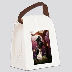 The Girl and the Dark Unicorn Canvas Lunch Bag