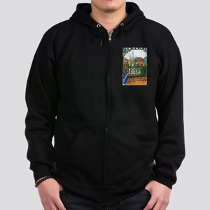 French Quarter Balcony Zip Hoodie (dark)
