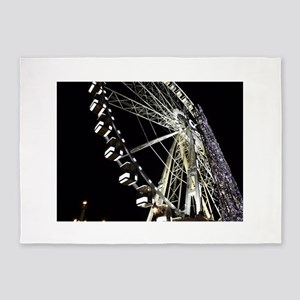 Paris Holiday Farris Wheel Christma 5'x7'Area Rug