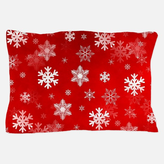 Light Red Snowflakes Pillow Case