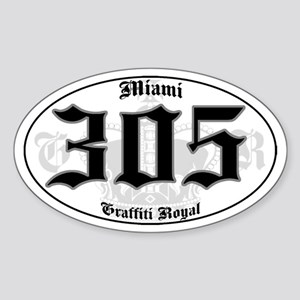 """MIAMI 305 OLD SKOOL"" Oval Sticker"