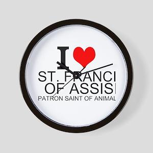 I Love St. Francis of Assisi Wall Clock