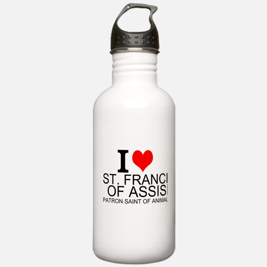 I Love St. Francis of Assisi Water Bottle