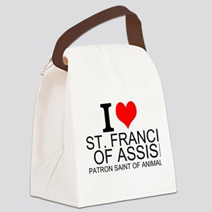 I Love St. Francis of Assisi Canvas Lunch Bag