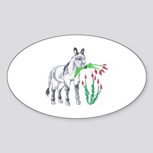 BURRO EATING OCOTILLO Sticker