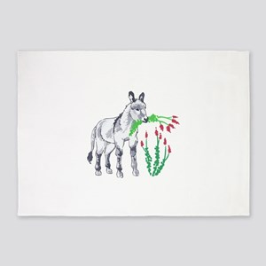 BURRO EATING OCOTILLO 5'x7'Area Rug