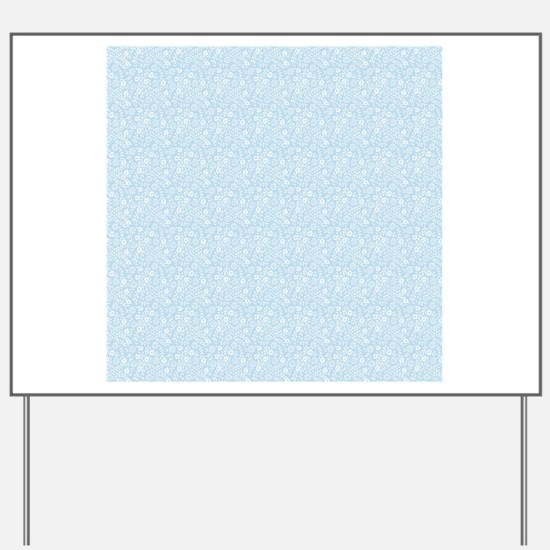 Baby Blue Floral Pattern Yard Sign
