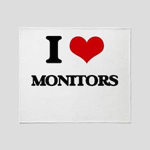 I Love Monitors Throw Blanket