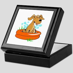 DOG IN SWIMMING POOL Keepsake Box