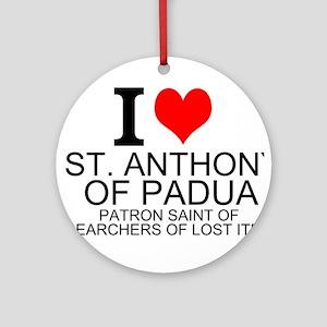 I Love St. Anthony of Padua Ornament (Round)
