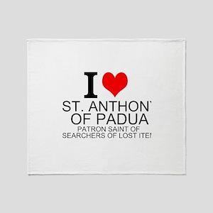 I Love St. Anthony of Padua Throw Blanket