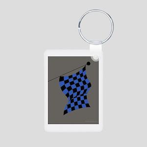 blue and black flag portrait Aluminum Photo Keycha