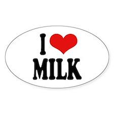 I Love Milk Oval Sticker