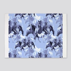 Horses In Blue 5'x7'Area Rug