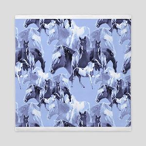 Horses In Blue Queen Duvet
