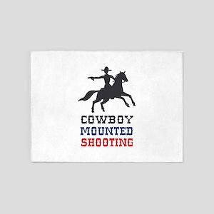 COWBOY MOUNTED SHOOTING 5'x7'Area Rug