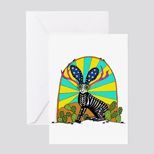 Sugar Skull Jackalope Greeting Cards