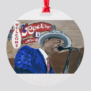Blues Singer Round Ornament