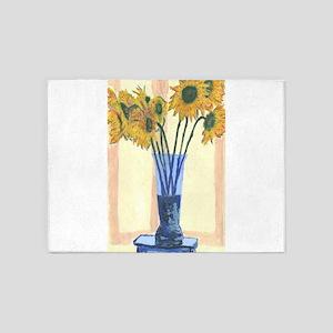 Sunflower in Blue Vase 5'x7'Area Rug