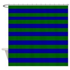 Blue and Green Stripes Shower Curtain