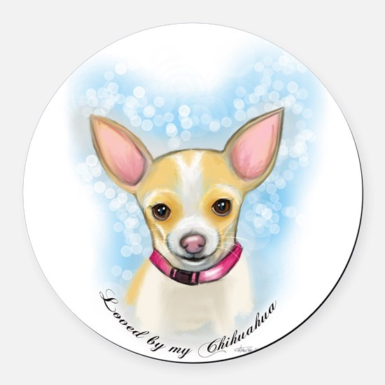 Loved by Chihuahua Round Car Magnet