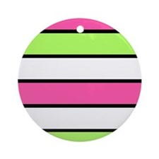 Hot Pink, Neon Green and White Stripes Ornament (R