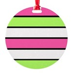 Hot Pink, Neon Green and White Stripes Ornament
