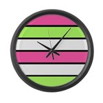 Hot Pink, Neon Green and White Stripes Large Wall