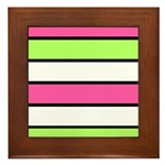 Hot Pink, Neon Green and White Stripes Framed Tile