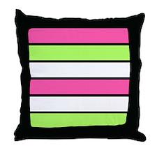 Hot Pink, Neon Green and White Stripes Throw Pillo