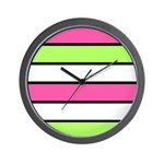 Hot Pink, Neon Green and White Stripes Wall Clock