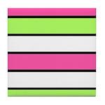 Hot Pink, Neon Green and White Stripes Tile Coaste