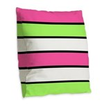Hot Pink, Neon Green and White Stripes Burlap Thro