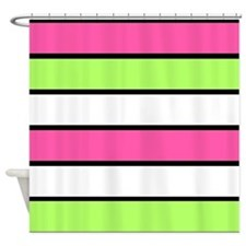 Hot Pink, Neon Green and White Stripes Shower Curt