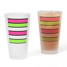 Hot Pink, Neon Green and White Stripes Drinking Gl