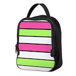 Hot Pink, Neon Green and White Stripes Neoprene Lu