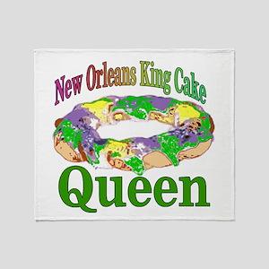 King Cake Queen Throw Blanket