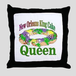 King Cake Queen Throw Pillow