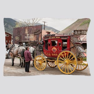 Horses and stagecoach, Colorado, USA Pillow Case