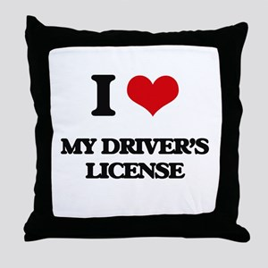 I Love My Driver's License Throw Pillow