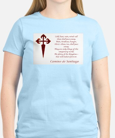 Camino Poem Red With Cross T-Shirt (light Colors)