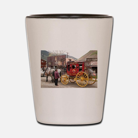 Horses and stagecoach, Colorado, USA Shot Glass