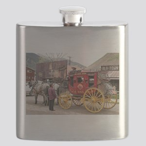 Horses and stagecoach, Colorado, USA Flask