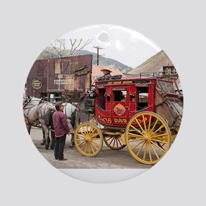 Horses and stagecoach, Colorado, Ornament (Round)