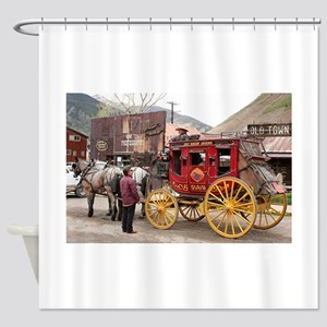 Horses and stagecoach, Colorado, US Shower Curtain
