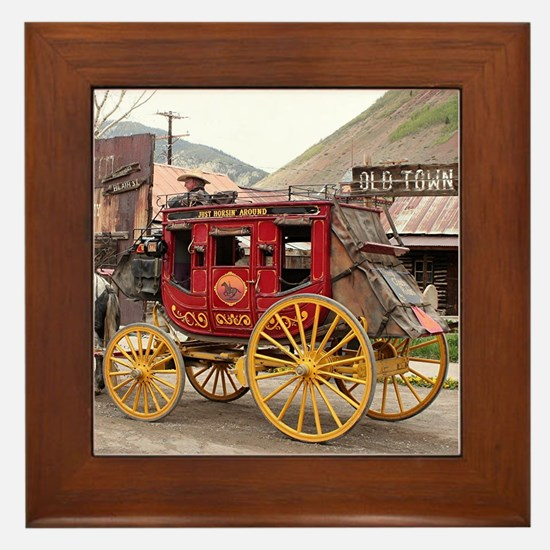 Horses and stagecoach, Colorado, USA Framed Tile