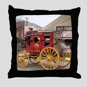 Horses and stagecoach, Colorado, USA Throw Pillow