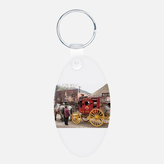 Horses and stagecoach, Colorado, U Keychains
